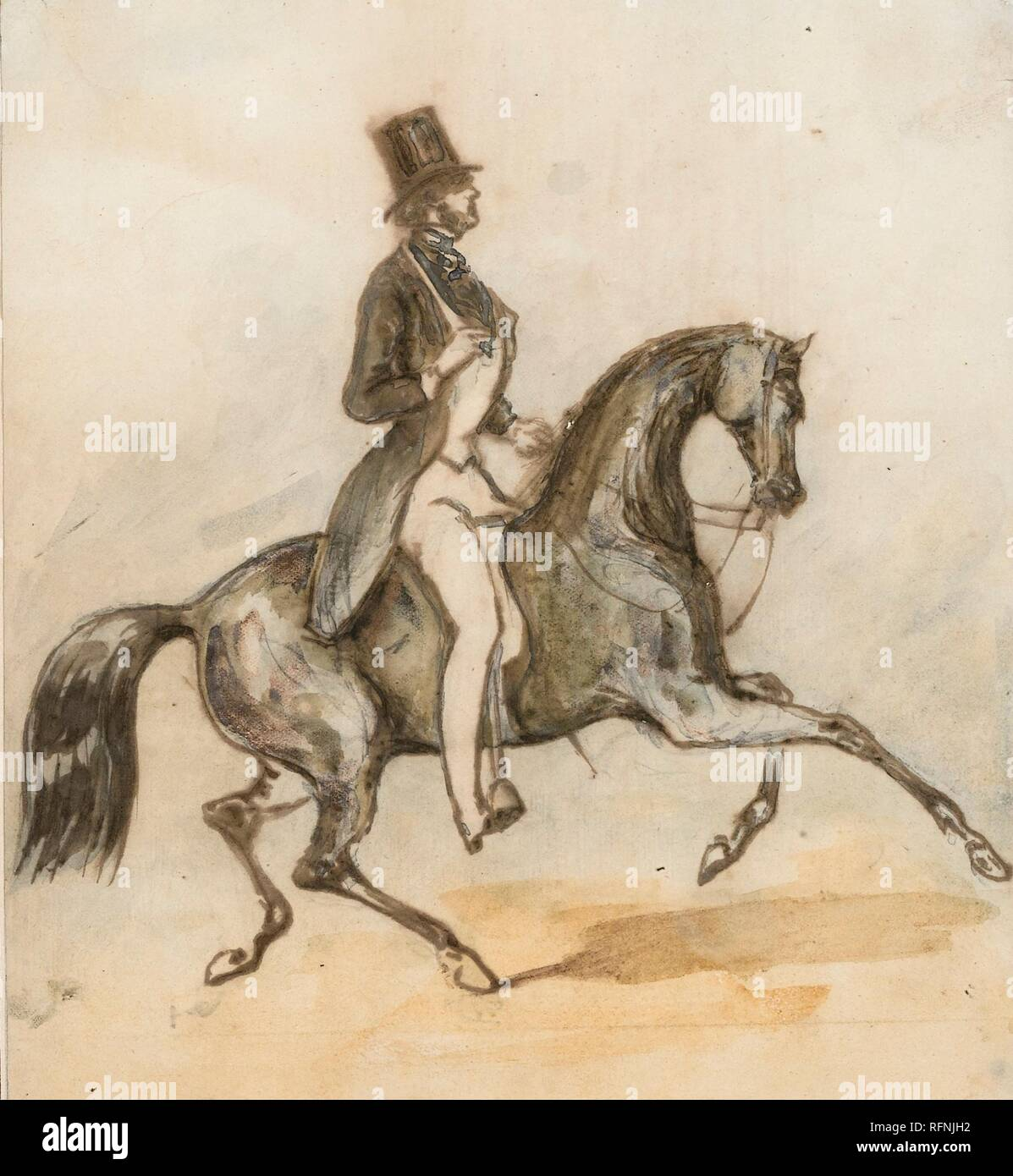 Constantin-Ernest-Adolphe-Hyacinthe Guys 1802 - 1892 PRESUMED PORTRAIT OF THE COMTE D'ORSAY RIDING A HORSE.jpg - RFNJH2 - Stock Image