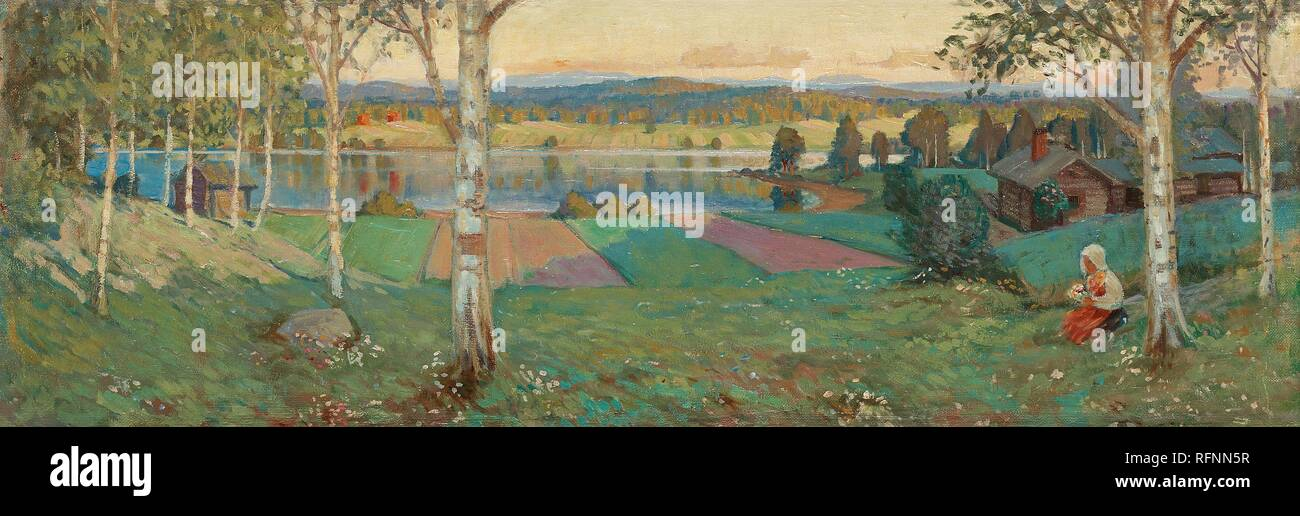 GUSTAF ANKARCRONA, SUMMER LANDSCAPE FROM DALARNA.jpg - RFNN5R Stock Photo