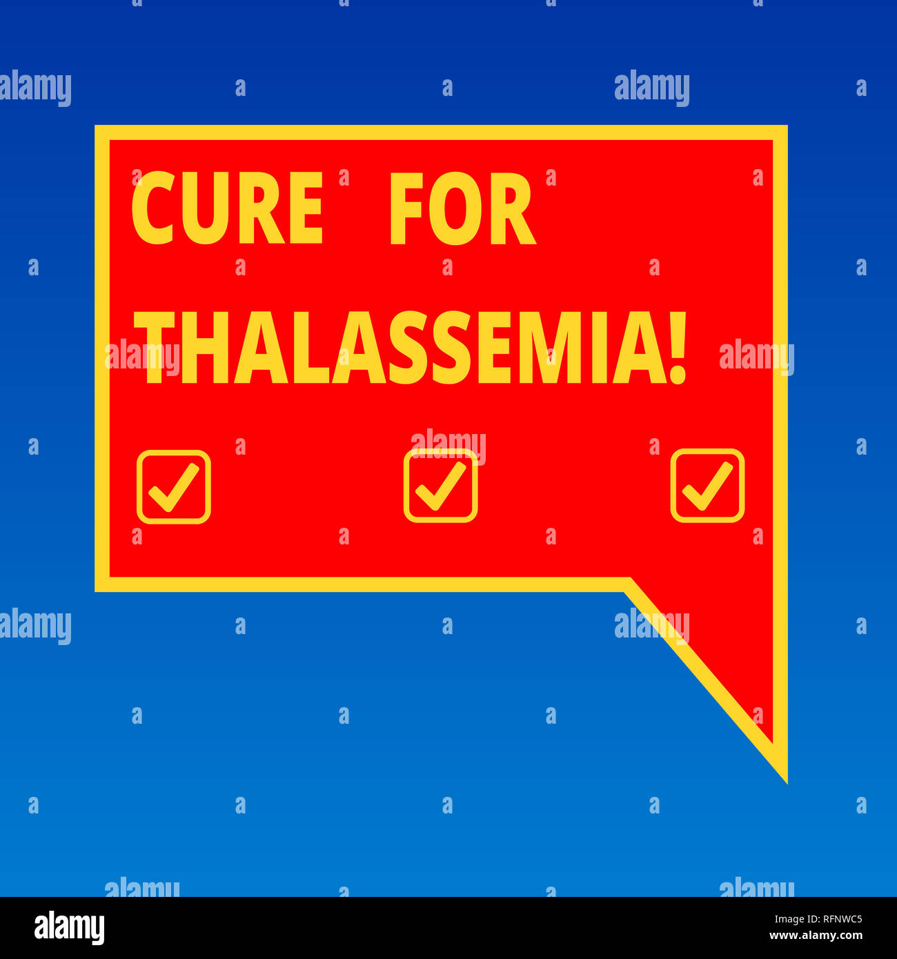 Handwriting text writing Cure For Thalassemia. Concept meaning Treatment needed for this inherited blood disorder Blank Rectangular Color Speech Bubbl - Stock Image