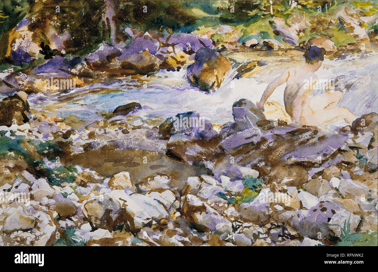 Working Title/Artist: Mountain Stream Department: Am. Paintings / Sculpture Culture/Period/Location:  HB/TOA Date Code:  Working Date: ca. 1912-14 scanned for collections - Stock Image