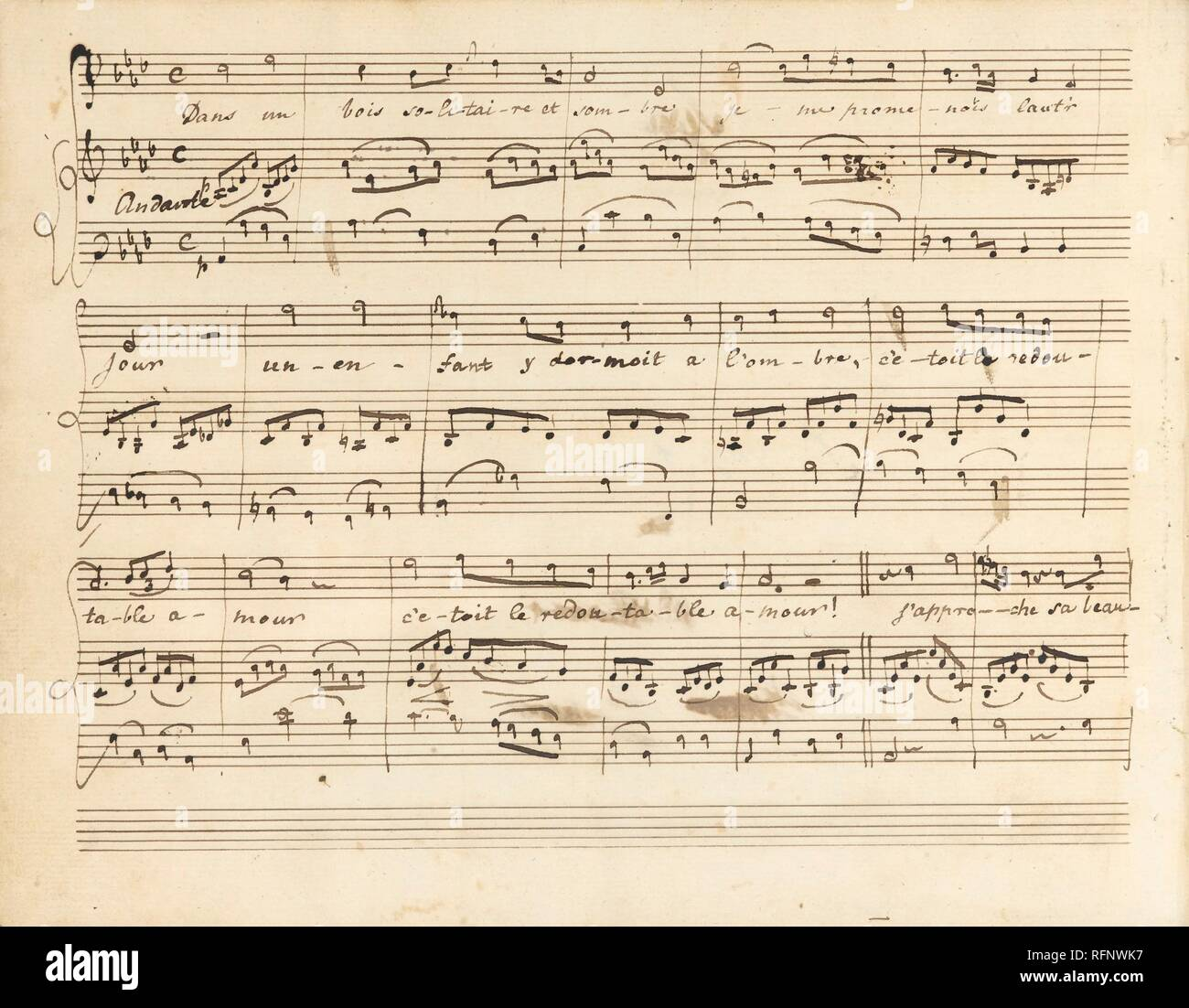 Mozart, Wolfgang Amadeus LATE EIGHTEENTH-CENTURY ENGLISH MANUSCRIPT OF ARIAS AND DUETS BY MOZART, TOGETHER WITH SONGS AND AIRS BY BIANCH.jpg - RFNWK7 - Stock Image