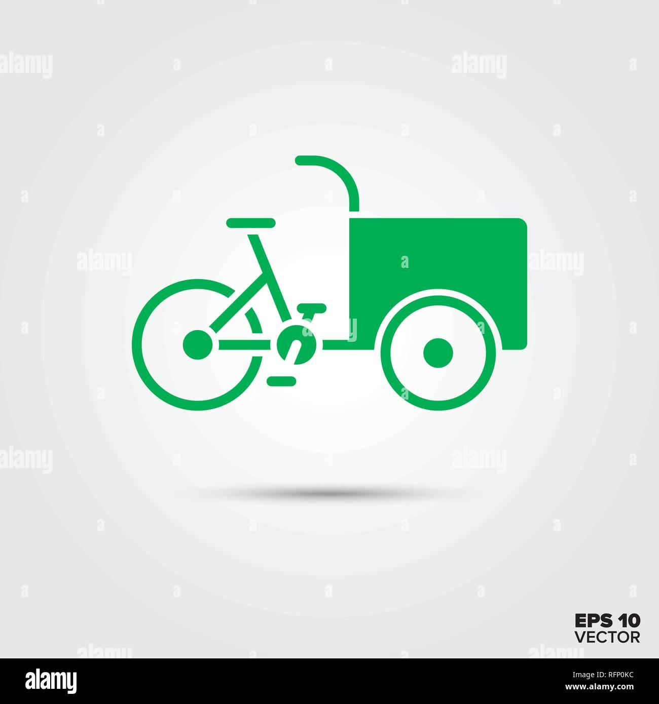 Cargobike icon, Sustainable delivery vehicle, eco-friendly transportation symbol. EPS 10 Vector. - Stock Image