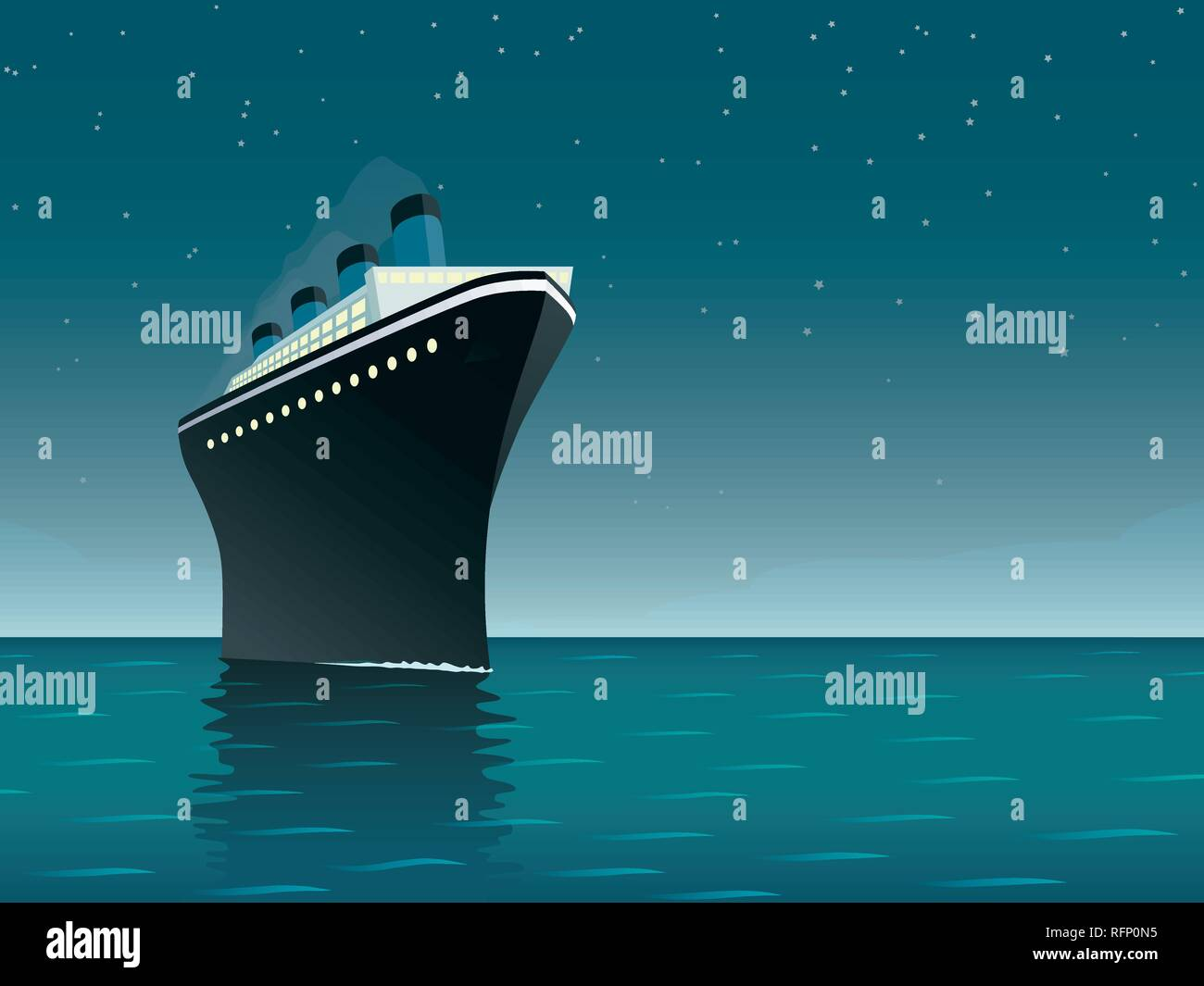 Vintage style horizontal vector illustration of giant cruise ship on the ocean at starry night - Stock Vector