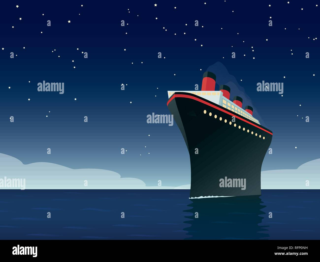 Vintage style horizontal vector illustration of giant cruise ship on the ocean at night - Stock Vector