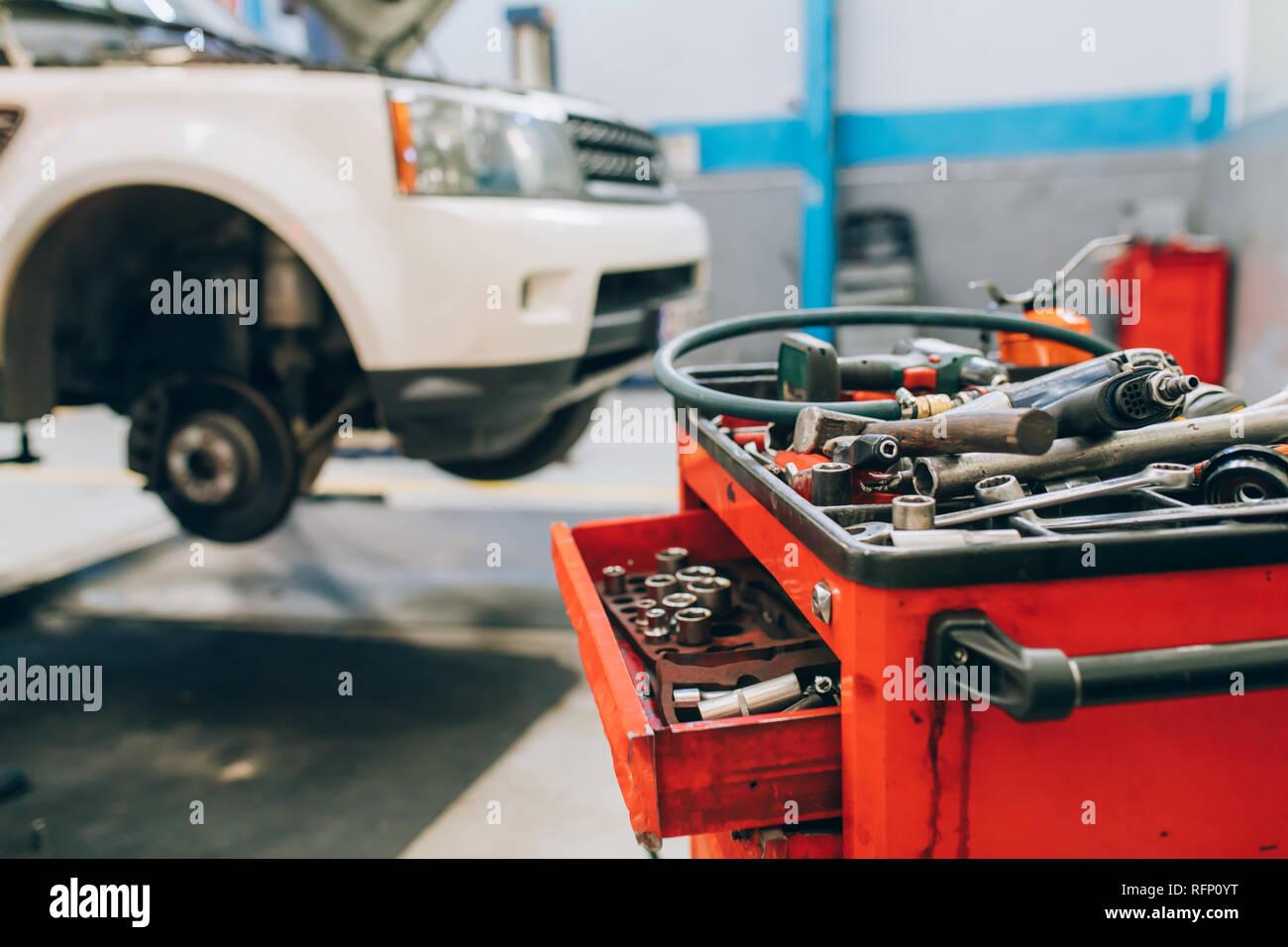 Car Repair And Maintenance >> Car Repair Maintenance Service Car Raised On Car Lift In