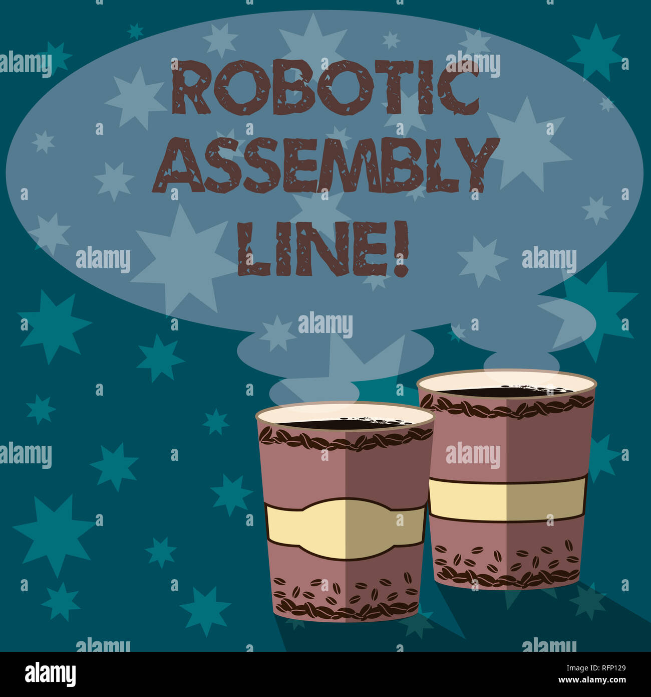 Text sign showing Robotic Assembly Line. Conceptual photo use to increase production speed and consistency Two To Go Cup with Beverage and Steam icon  - Stock Image