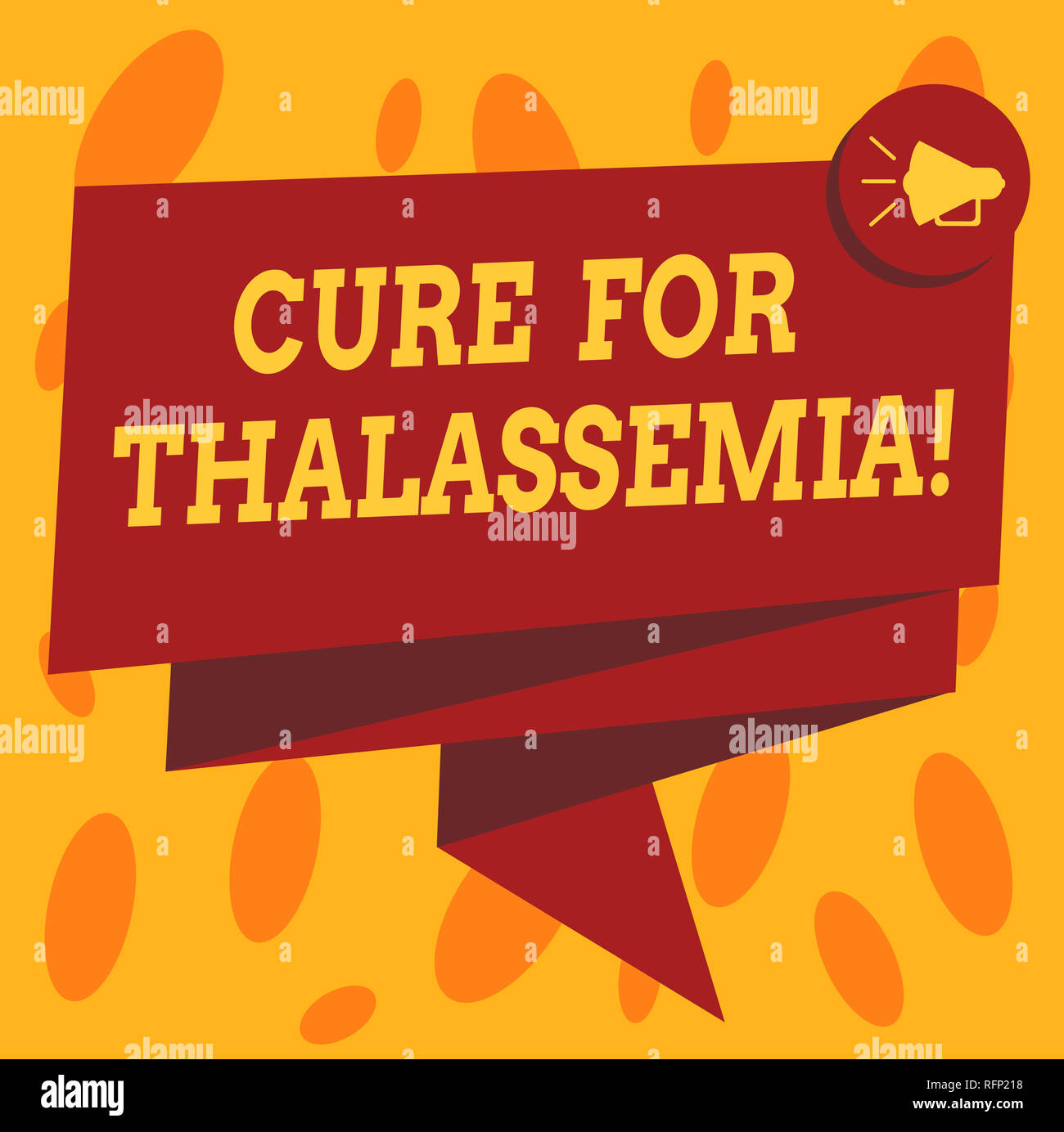 Writing note showing Cure For Thalassemia. Business photo showcasing Treatment needed for this inherited blood disorder Folded 3D Ribbon Sash Megaphon - Stock Image