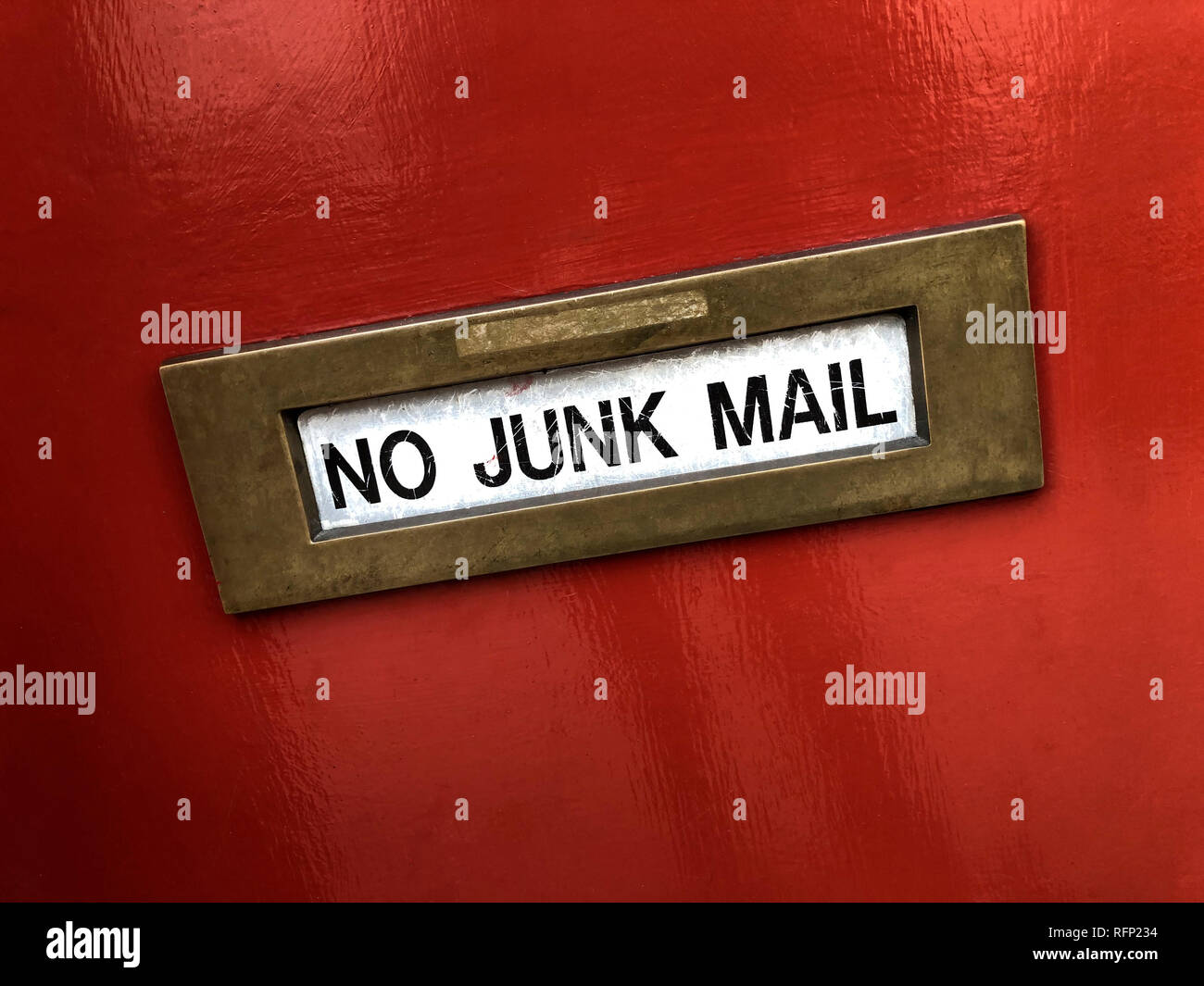 Letter box - No Junk Mail - Stock Image