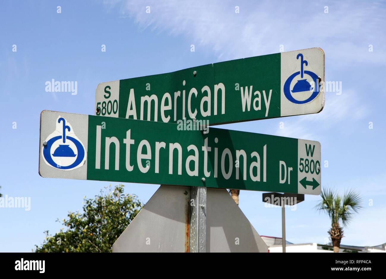 Street signposts, symbolic photo international relations, Orlando