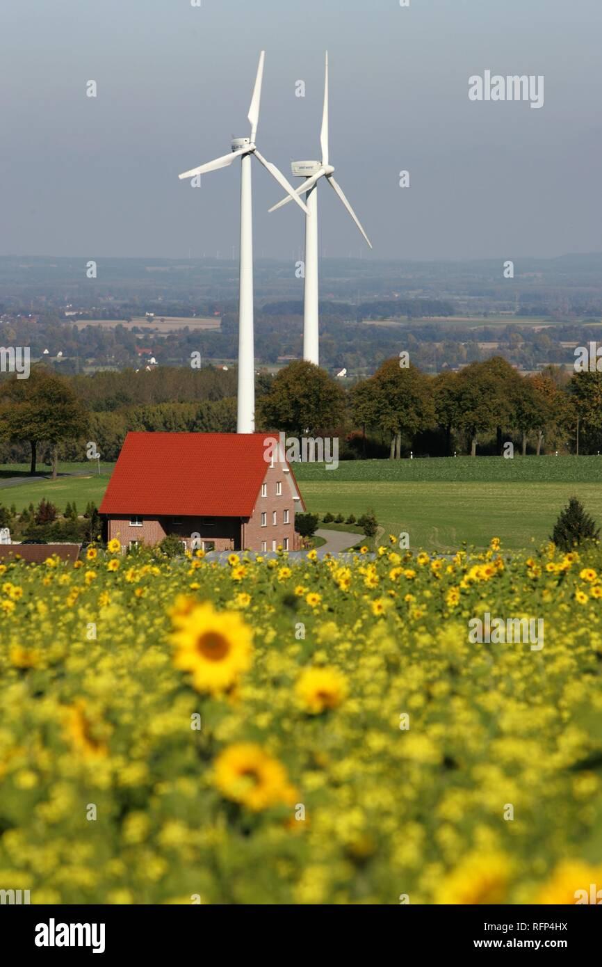 Wind turbines, wind power stations near Soest, North Rhine