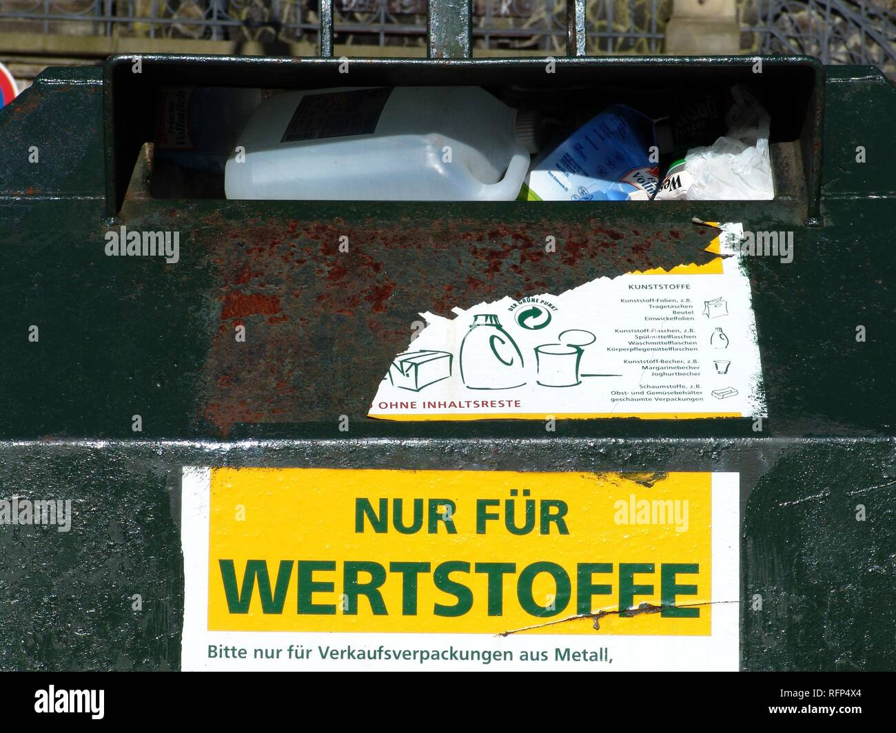 Container for recyclable materials, Hamburg, Germany - Stock Image