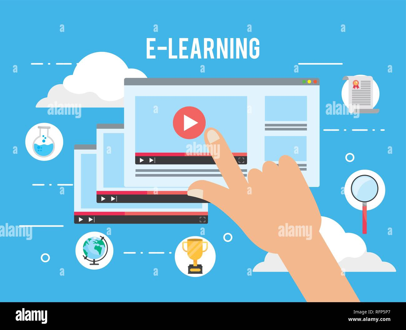 elearning website video with study certificate - Stock Image