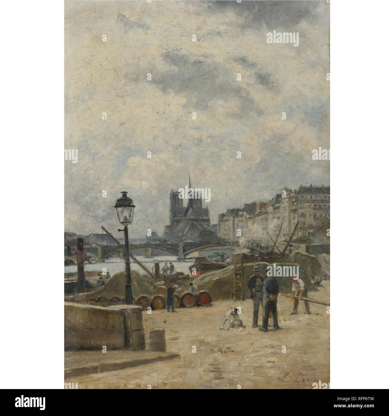 Stanislas Lpine 1835 - 1892 FRENCH THE SEINE AT PONT SULLY AND LE QUAI HENRI IV.jpg - RFP6TW Stock Photo