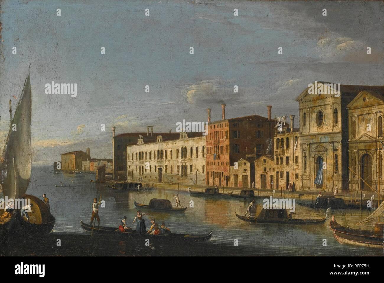 The Master of the Langmatt Foundation Views ACTIVE VENICE CIRCA 1740-1770 VENICE, THE SANTO SPIRITO AND THE ZATTERE.jpg - RFP75H  - Stock Image