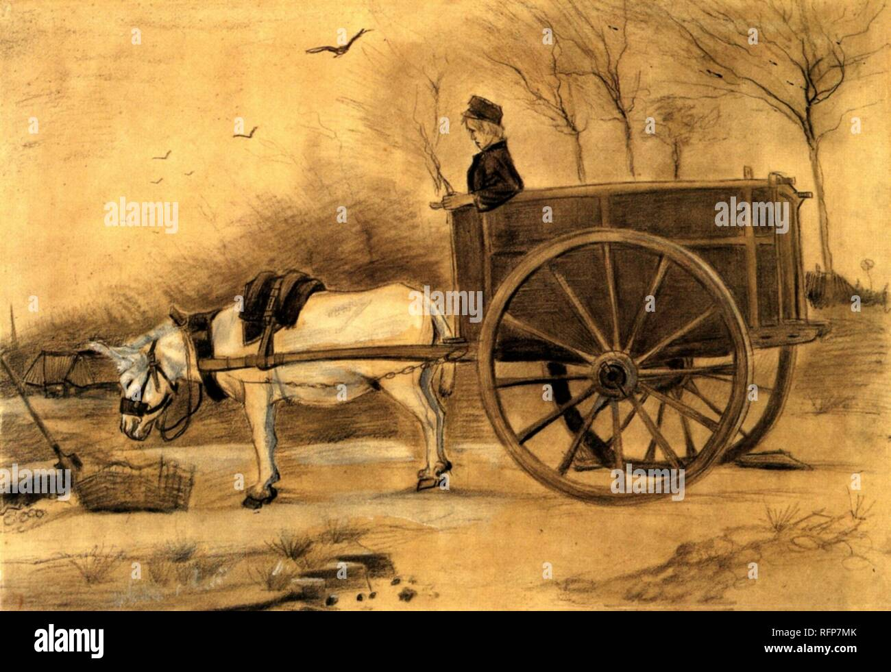 Vincent Van Gogh Drawings, Donkey and Cart.jpg - RFP7MK - Stock Image