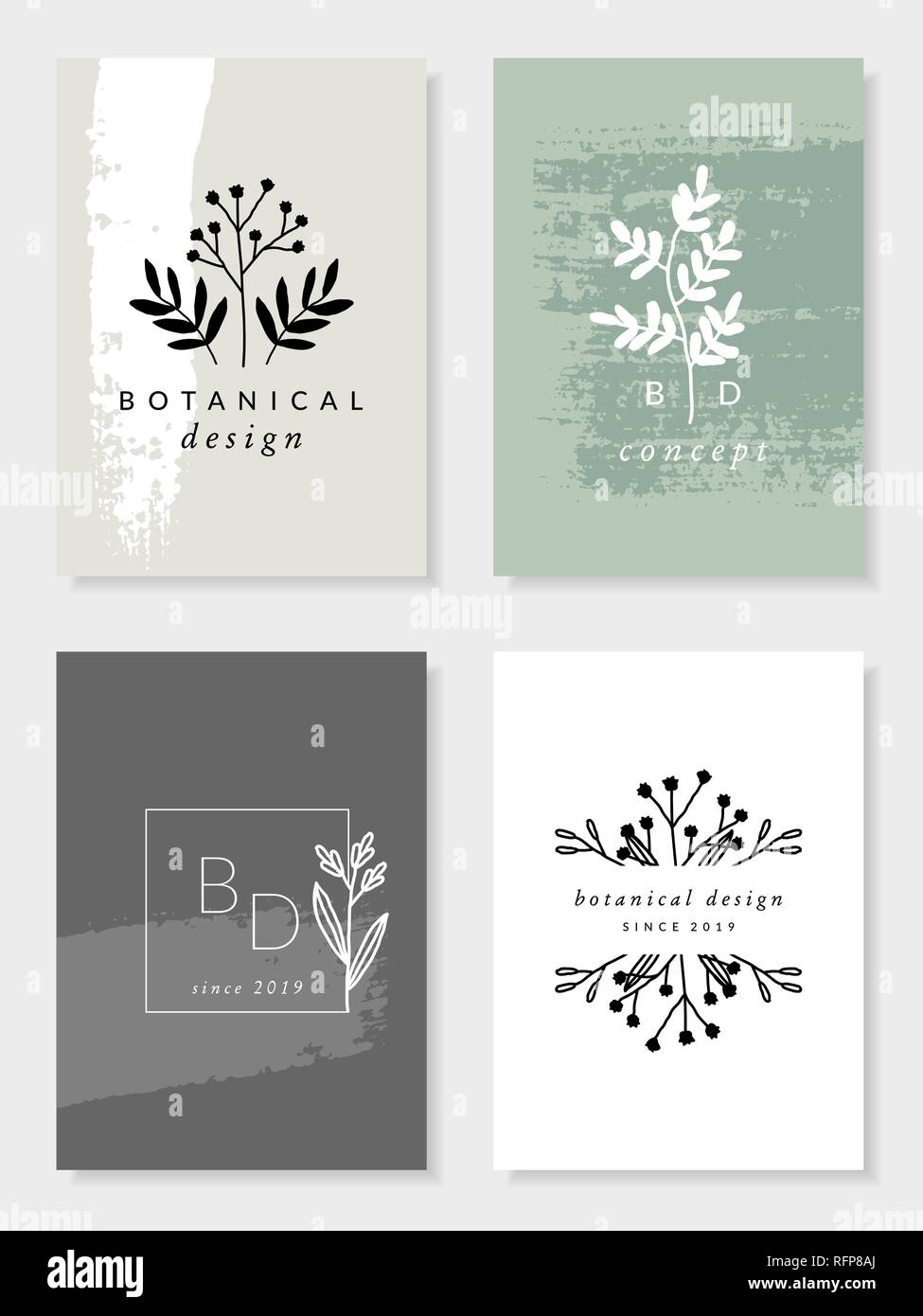 A set of four modern and elegant botanical card designs in pastel