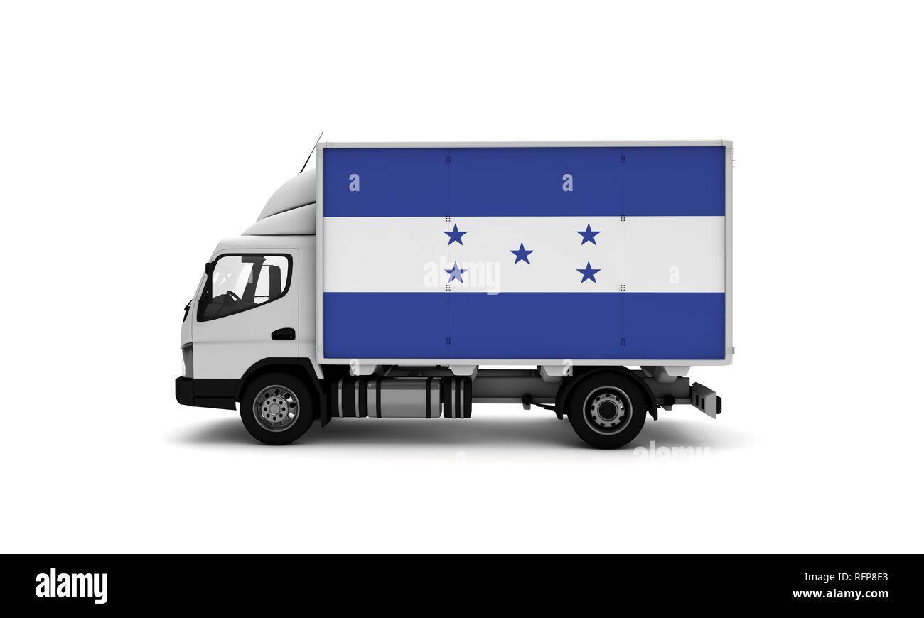 Delivery van with Honduras flag. logistics concept Stock Photo