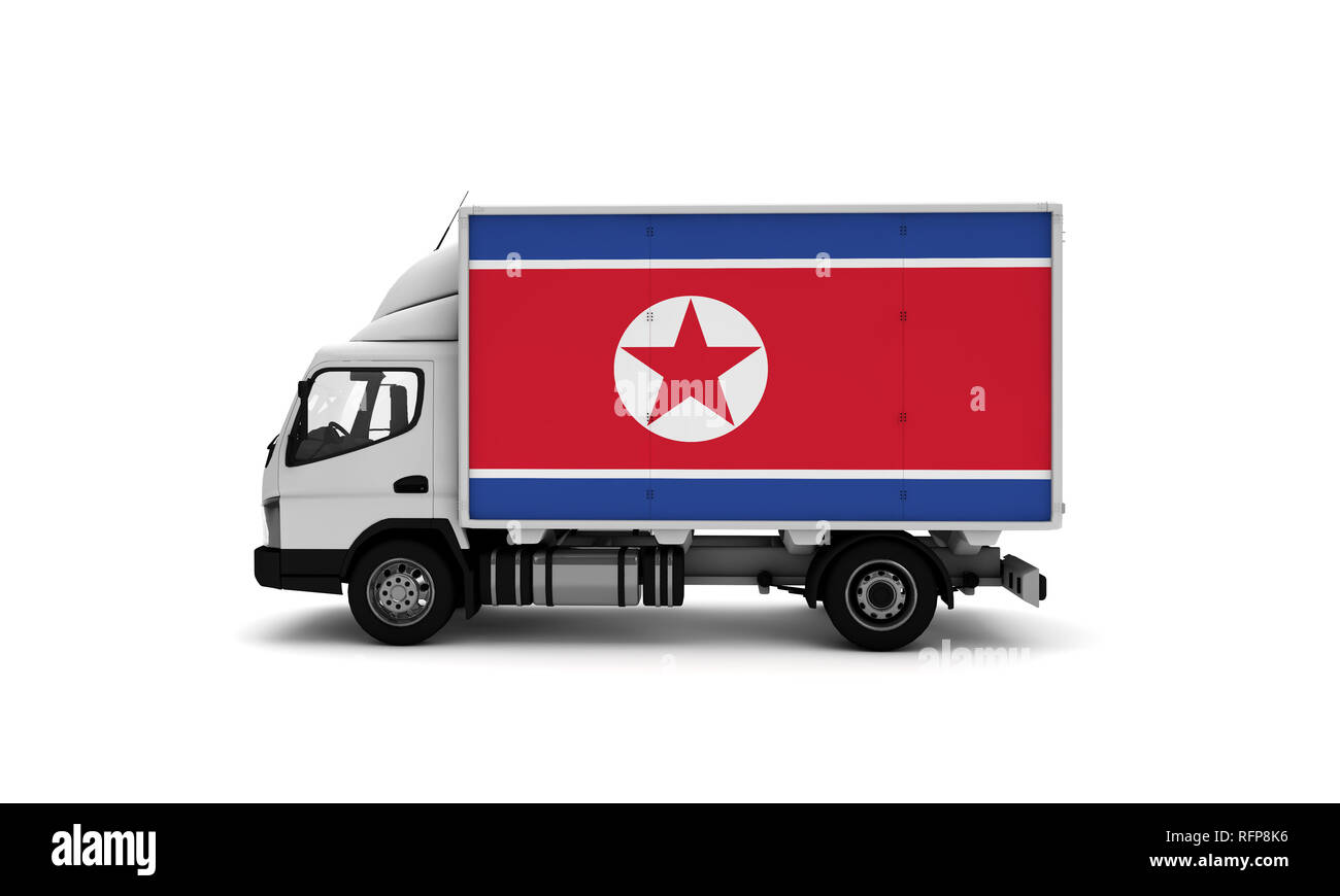 Delivery van with North Korea flag  logistics concept Stock