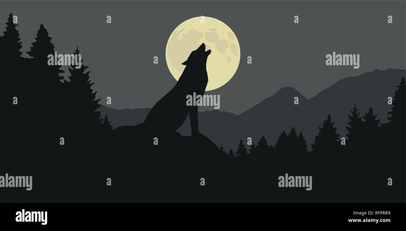 wolf howls at full moon in a forest silhouette vector illustration EPS10 - Stock Image