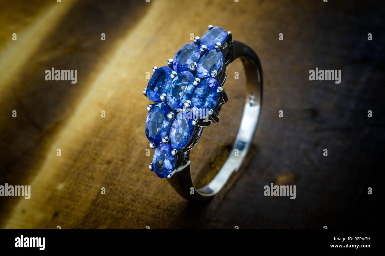 Women's Sparkling Blue Stone Fashion Ring - Stock Image