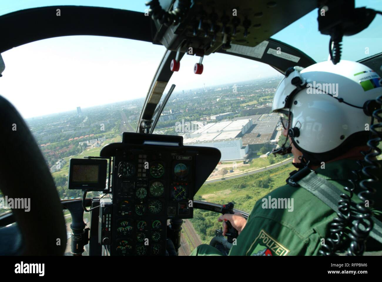 DEU, Germany, Duesseldorf: Police flying squad. Police helicopters. Type MBB BO105, Cockpit. - Stock Image