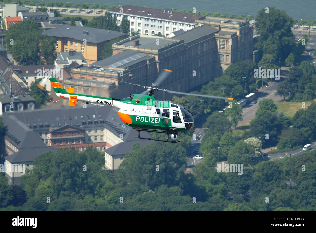 DEU, Germany, Duesseldorf: Police flying squad. Police helicopters. Type MBB BO105 - Stock Image