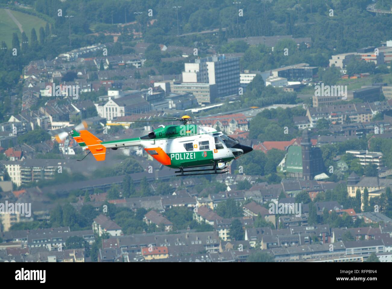 DEU, Germany, Duesseldorf: Alarm helicopter BK 117 with camera, infrared and heat-search camera. Can fly at night with night - Stock Image