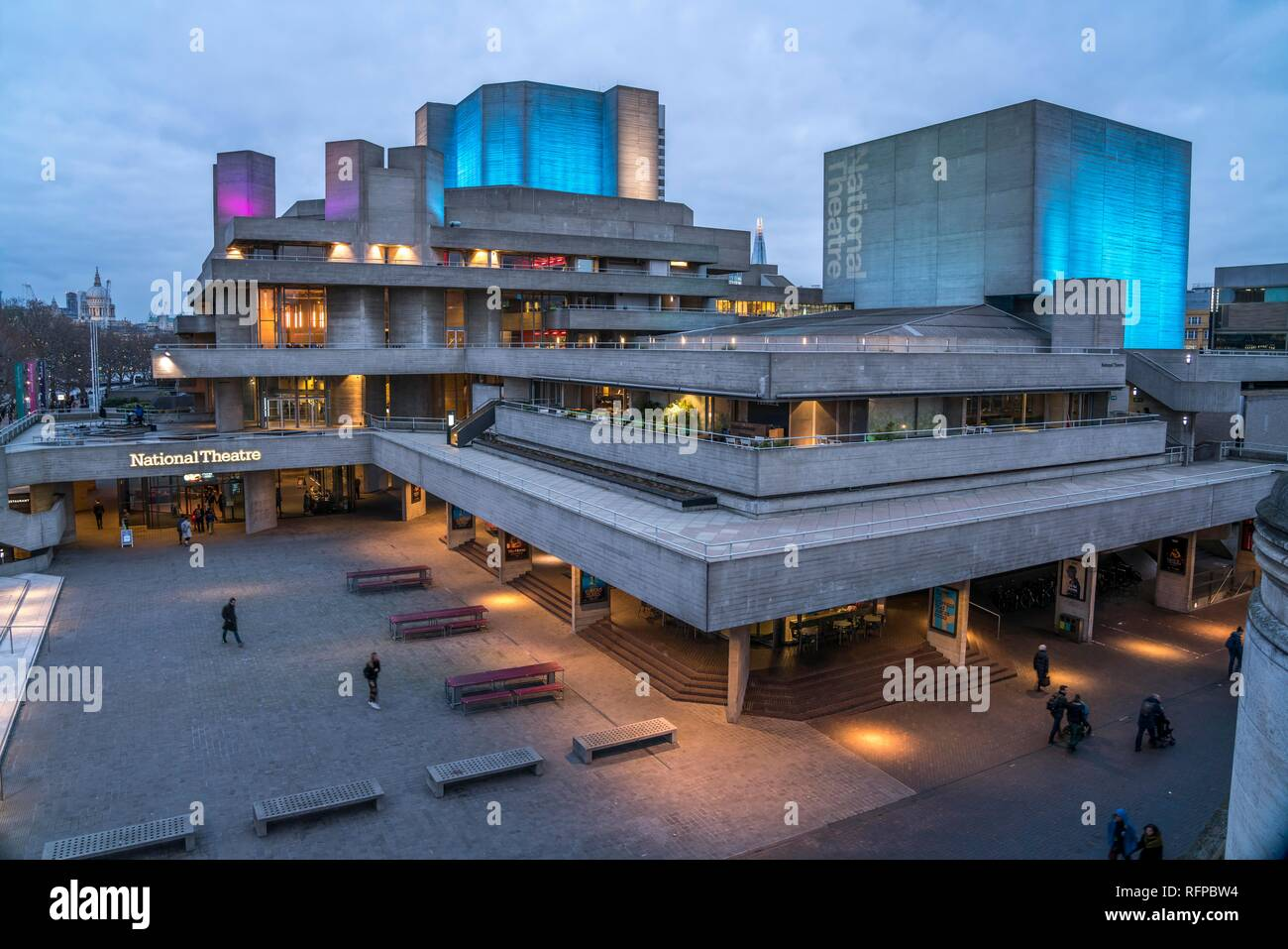 National Theatre at dusk, London, Great Britain - Stock Image