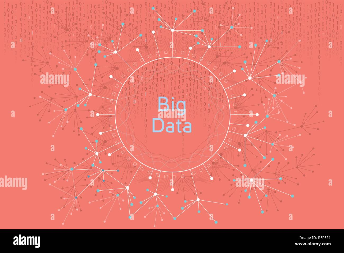 Big data vector concept illustration. Futuristic graphic illustration about visual data and social media analitics. - Stock Vector