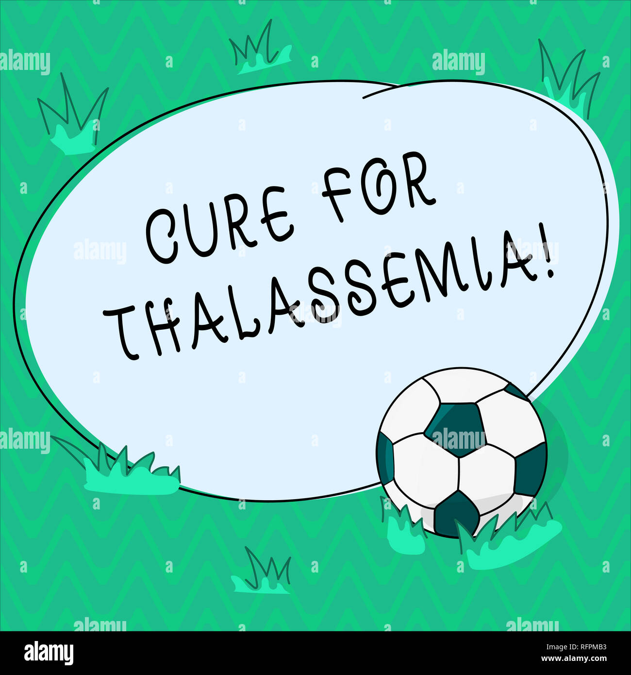 Word writing text Cure For Thalassemia. Business concept for Treatment needed for this inherited blood disorder Soccer Ball on the Grass and Blank Out - Stock Image