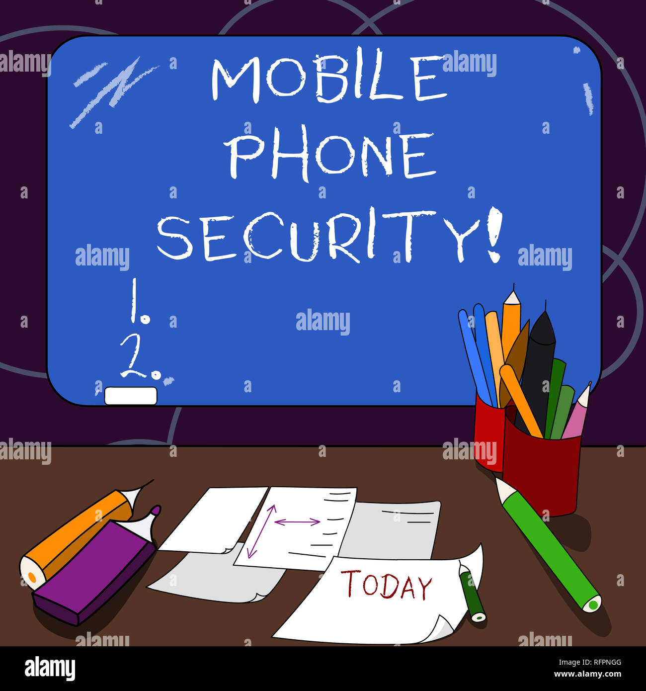 Handwriting text Mobile Phone Security. Concept meaning secure data on mobile devices Wireless security Mounted Blank Color Blackboard with Chalk and  - Stock Image