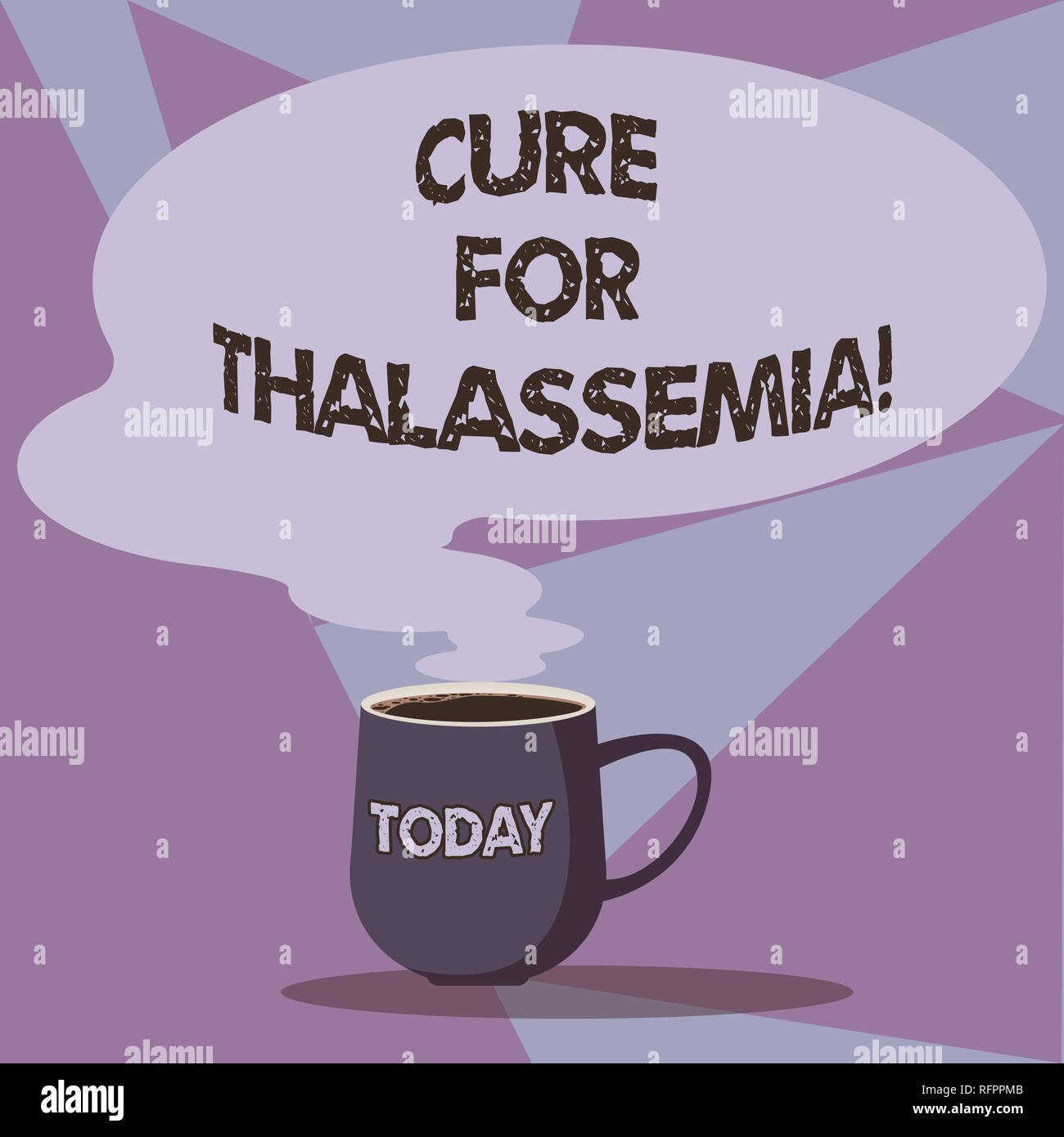 Writing note showing Cure For Thalassemia. Business photo showcasing Treatment needed for this inherited blood disorder Mug of Hot Coffee with Blank C - Stock Image