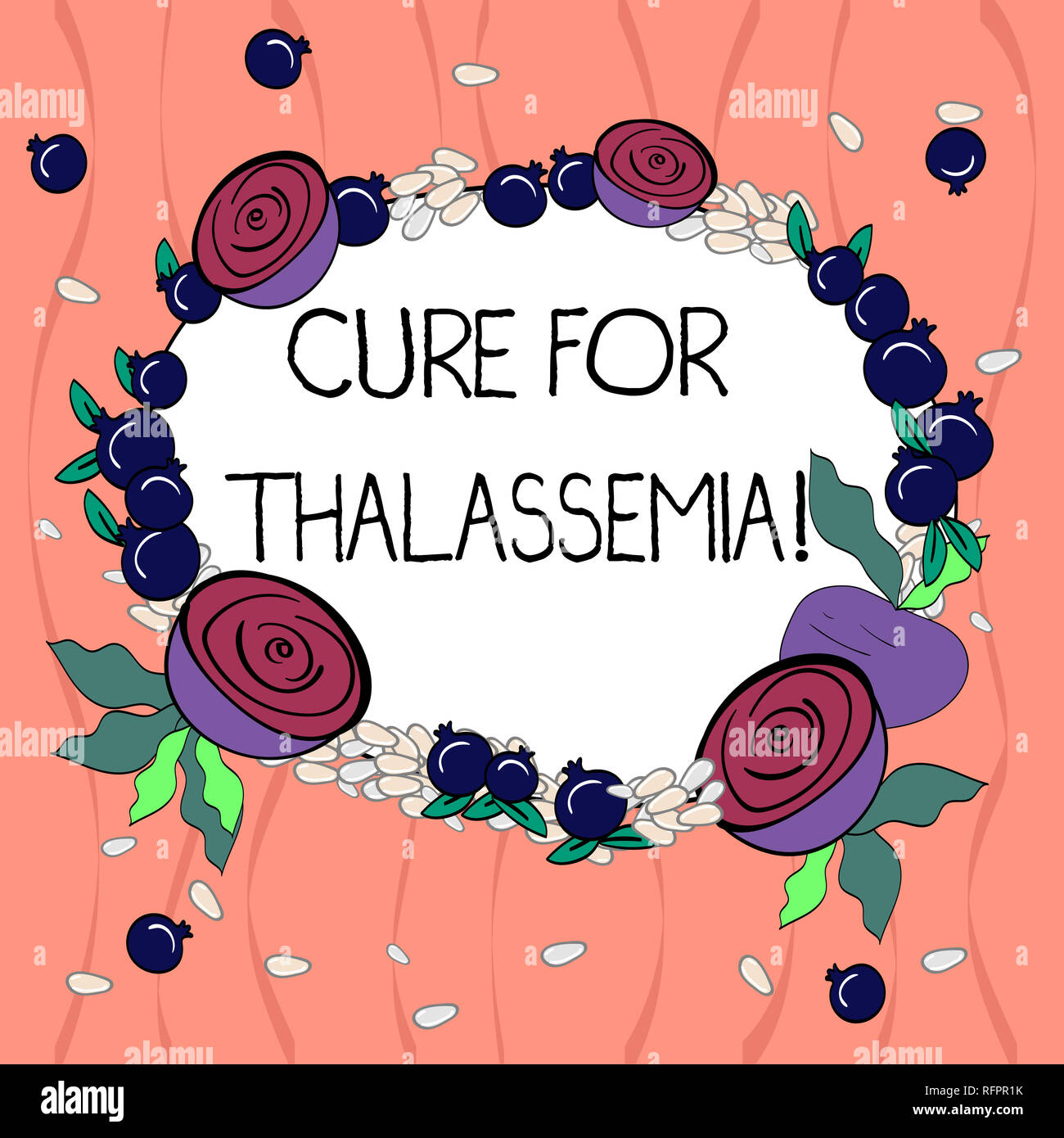Word writing text Cure For Thalassemia. Business concept for Treatment needed for this inherited blood disorder Floral Wreath made of Tiny Seeds Small - Stock Image