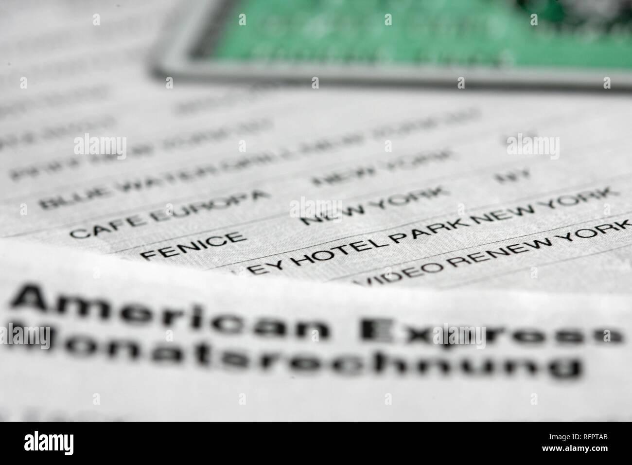 DEU, Germany : Monthly credit card invoice. Symbolic photo economy - Stock Image