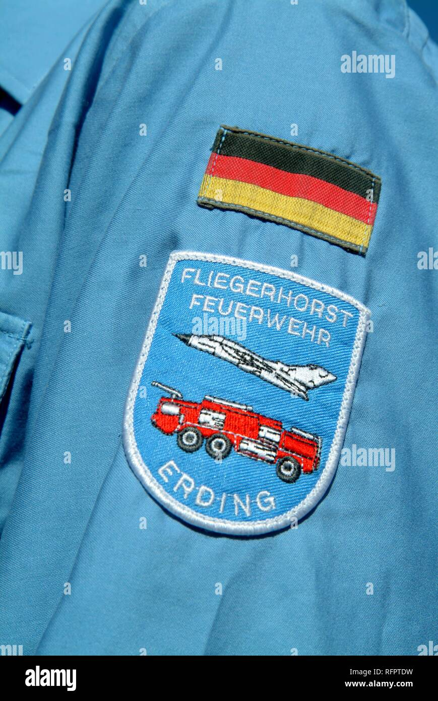 DEU, Federal Republic of Germany, : Rescue exercise of the airport fire service of the german airforce, on the runway. - Stock Image