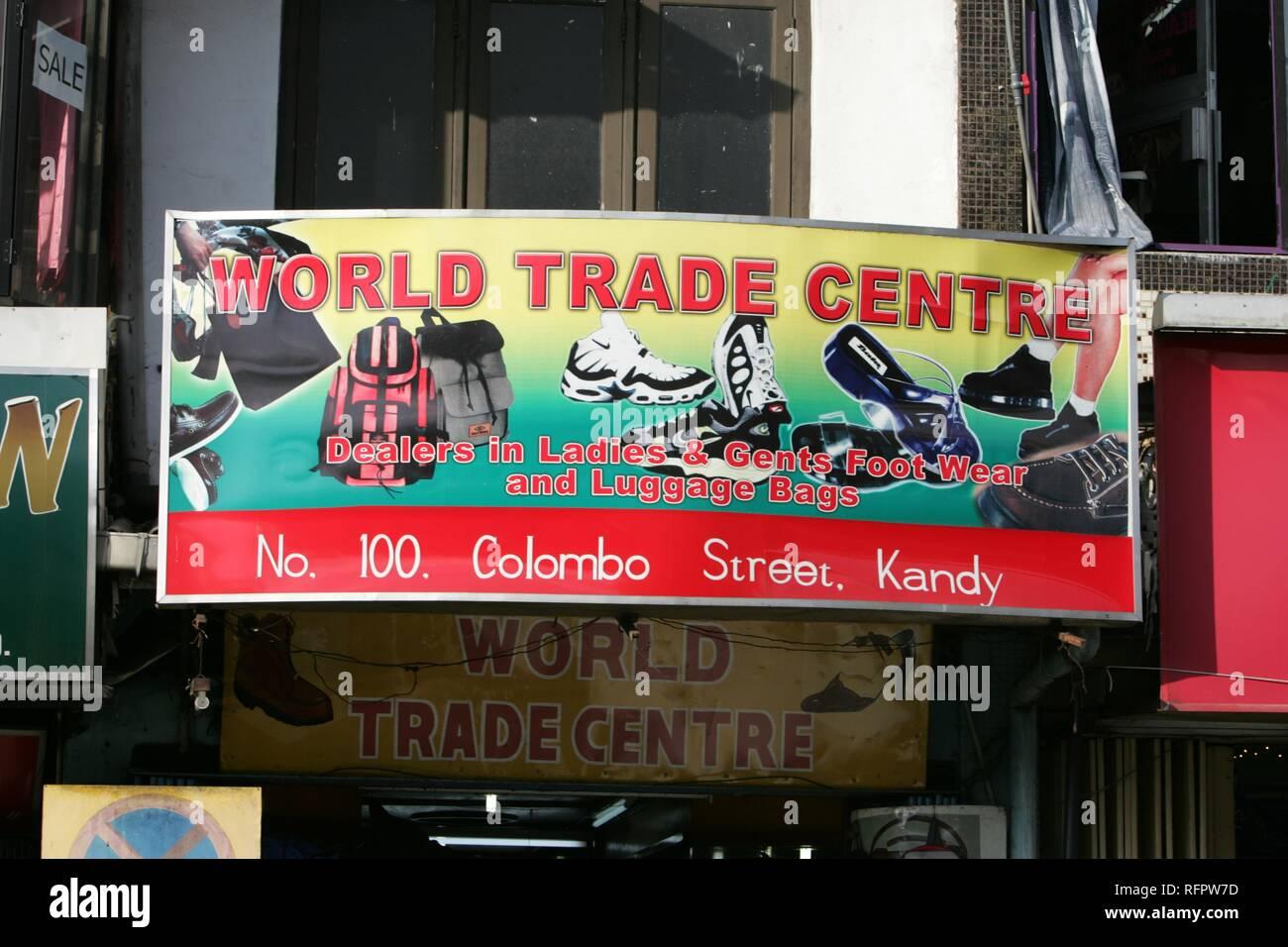 LKA, Sri Lanka, Kandy : Sign of a shop, World Trade Center. Stock Photo