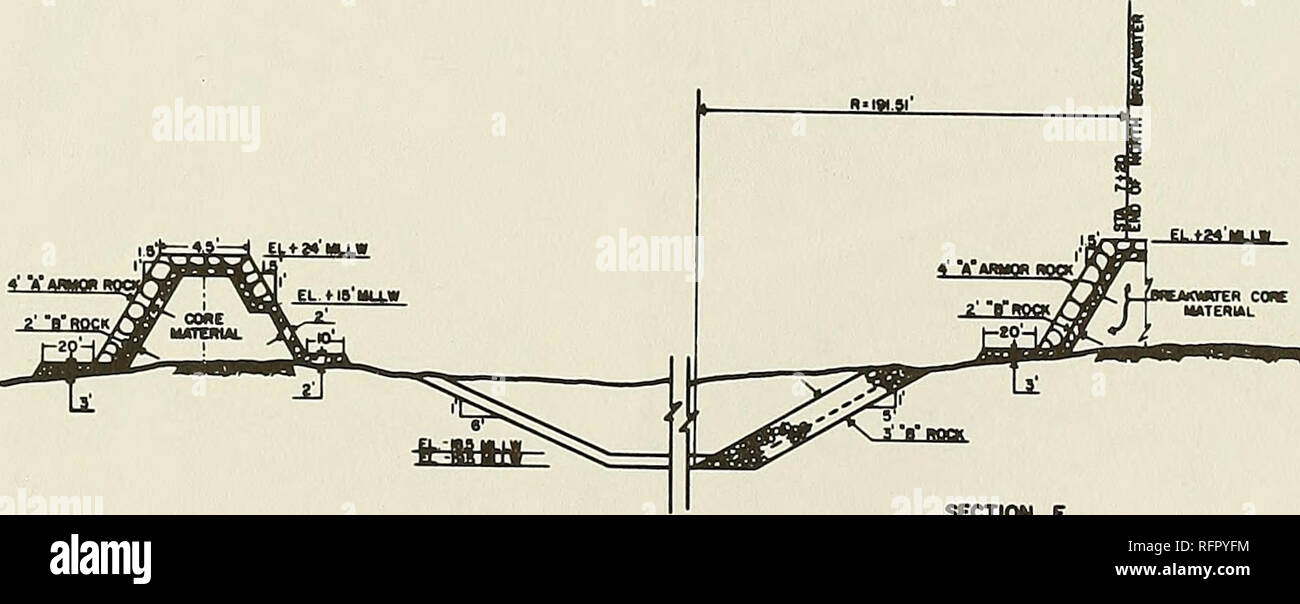 . Case histories of Corps breakwater and jetty structures. Breakwaters; Jetties; Breakwaters; Jetties. SECTION E nnou. f inwiicc aKixmm tm Nami mej TO su r+co. MB mxni MEMmTEft STA ttso Figure 17- Cross sections of breakwaters at Hoonah Harbor, Alaska (revised 1980) 59. Please note that these images are extracted from scanned page images that may have been digitally enhanced for readability - coloration and appearance of these illustrations may not perfectly resemble the original work.. Ward, Donald L. (Donald Leslie), 1943-; U. S. Army Engineer Waterways Experiment Station; Coastal Engineerin - Stock Image