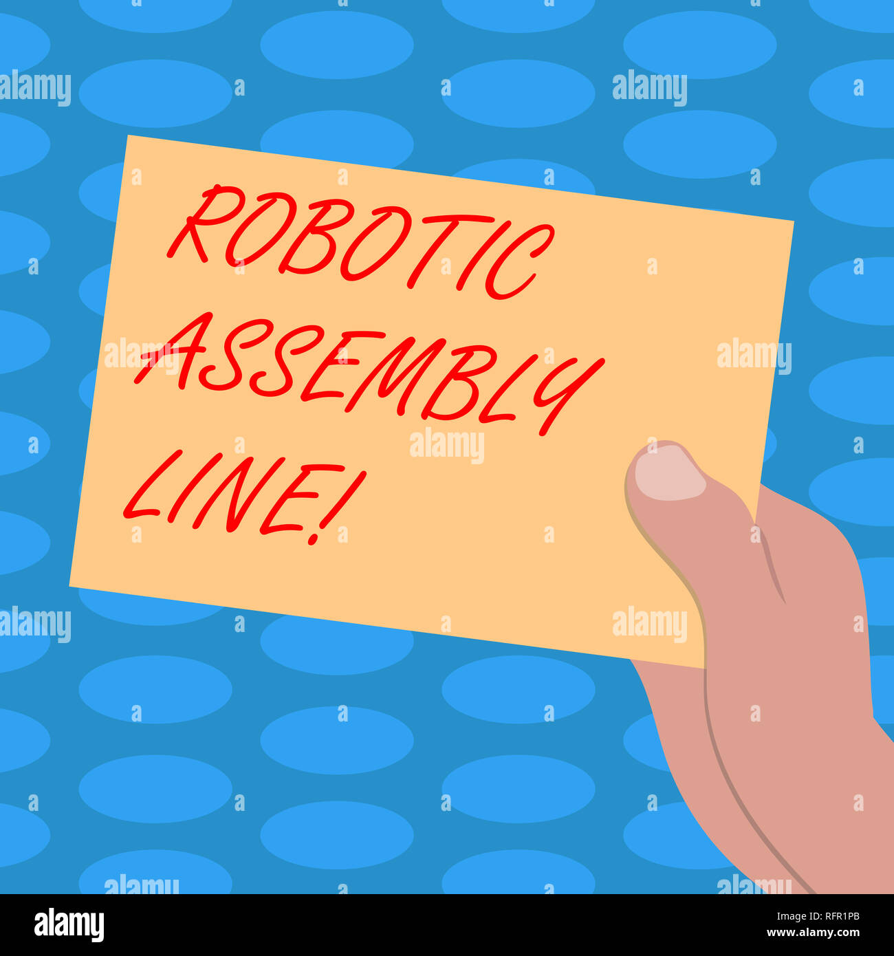 Word writing text Robotic Assembly Line. Business concept for use to increase production speed and consistency Drawn Hu analysis Hand Holding Presenti - Stock Image