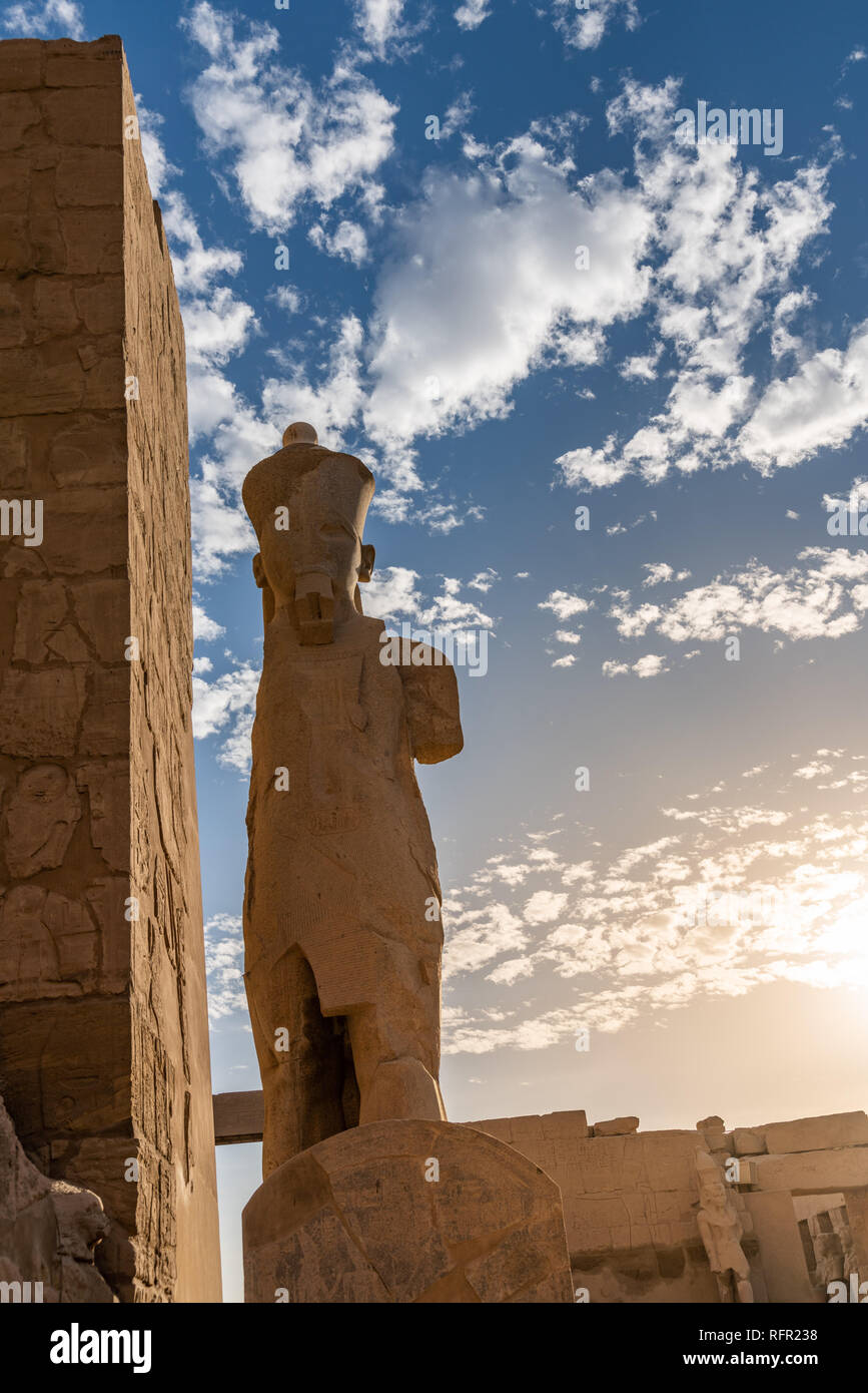 Karnak Temple entrance, Peristyle Court. Luxor, Egypt - Stock Image