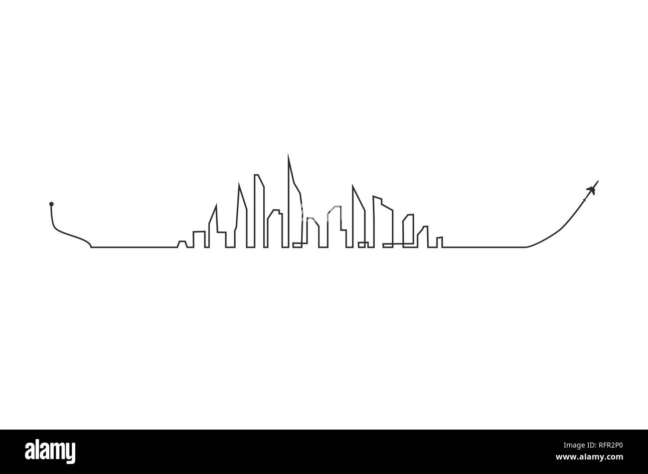 Plane and its track and skyline on white background. Vector illustration. Aircraft flight path and its route - Stock Image