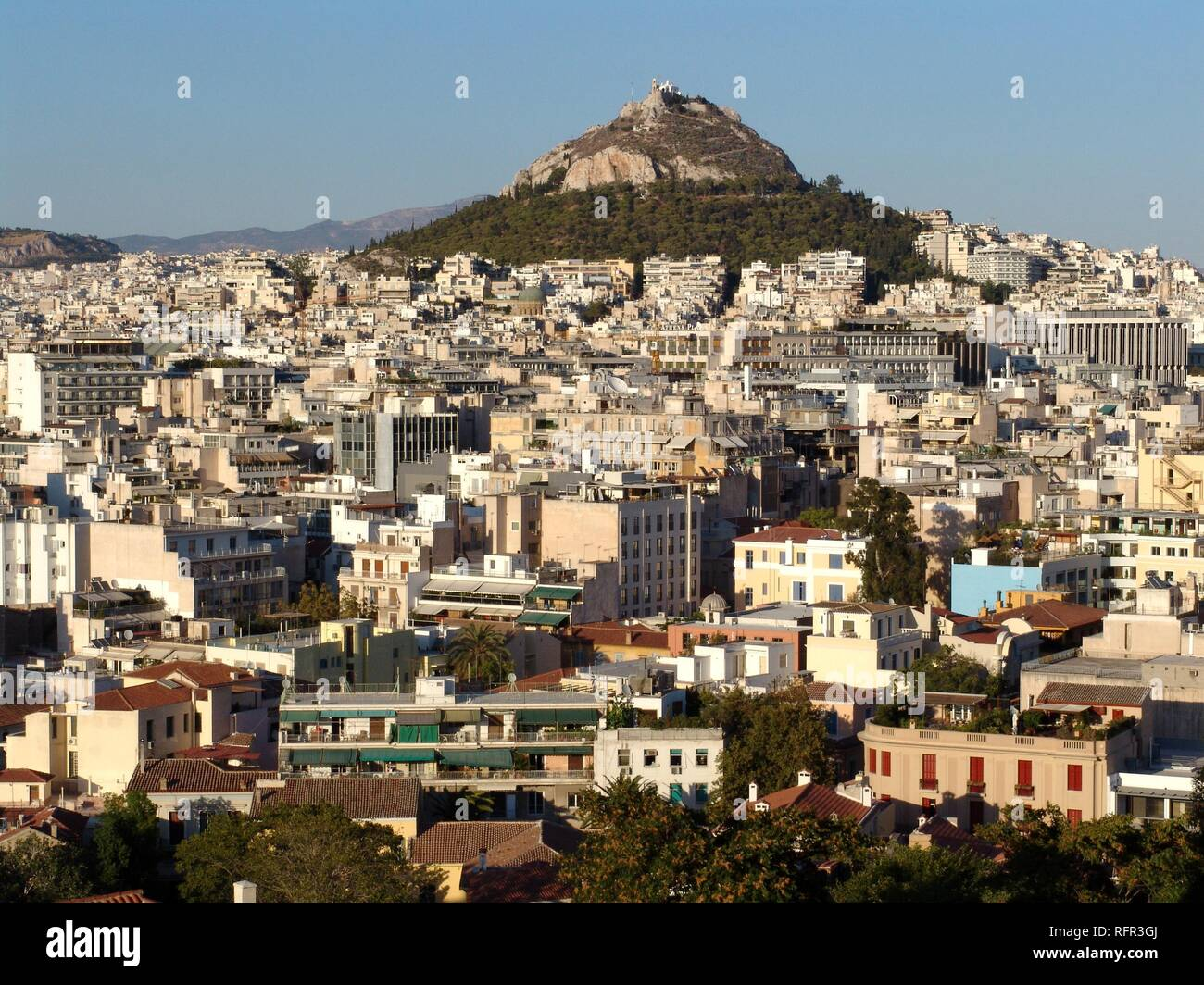 City centre, Mount Lykavittos with the Chapel of St. George, Athen, Griechenland Stock Photo