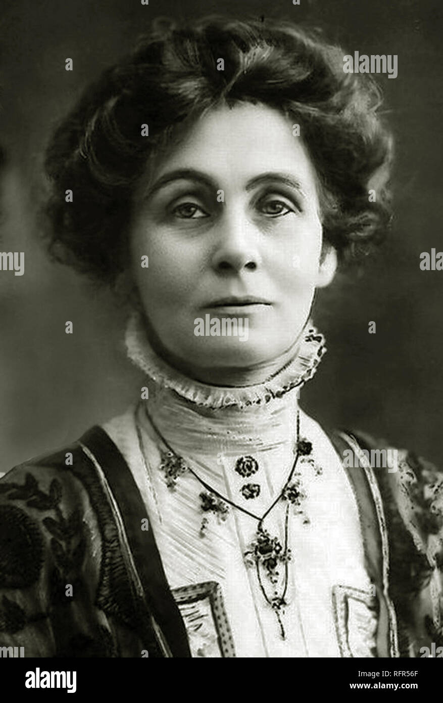 Emmeline Pankhurst was born on 14 July 1858 in Moss Side, Manchester. Her family were very wealthy and her parents were both politically active. Scanned from image material in the archives of Press Portrait Service - (formerly Press Portrait Bureau). As she grew older, Emmeline noticed that women were treated differently to men and became motivated to help change that. In 1903 she, along with her daughters Sylvia and Christabel, founded the Women's Social and Political Union (WSPU). Emmeline Pankhurst is remembered for her hard work with the WSPU in the fight to help get British women the vote - Stock Image