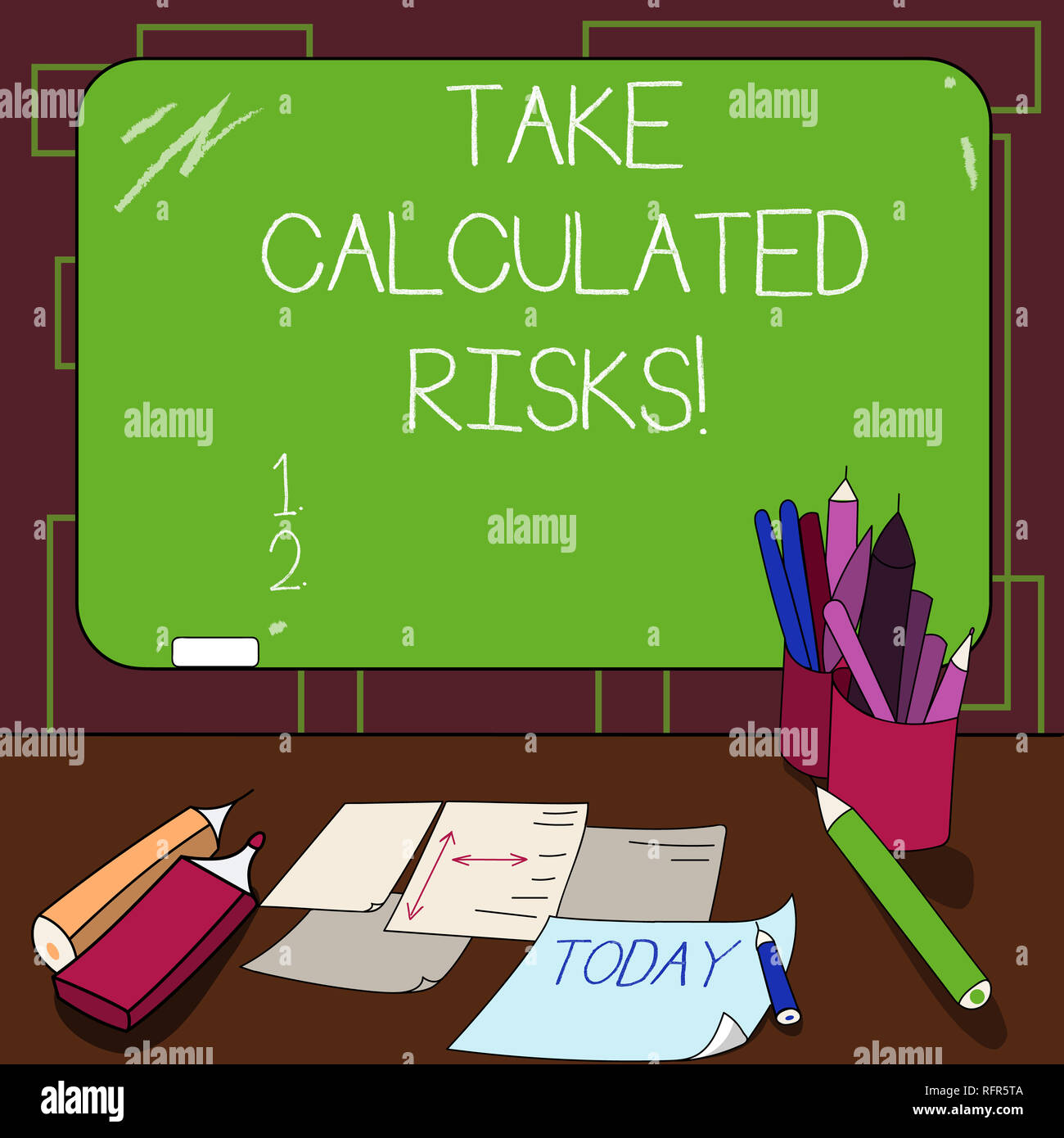 Writing note showing Take Calculated Risks. Business photo showcasing chance taken after careful valuation of the outcome Mounted Blackboard with Chal - Stock Image