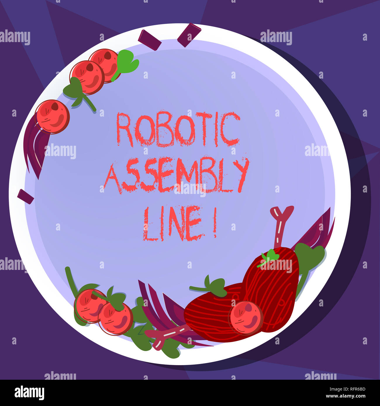 Text sign showing Robotic Assembly Line. Conceptual photo use to increase production speed and consistency Hand Drawn Lamb Chops Herb Spice Cherry Tom - Stock Image