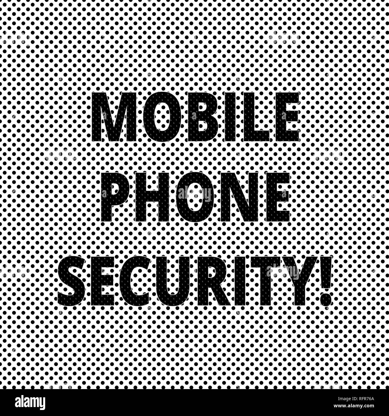 Conceptual hand writing showing Mobile Phone Security. Business photo showcasing secure data on mobile devices Wireless security Polka Dots Pixel Effe - Stock Image