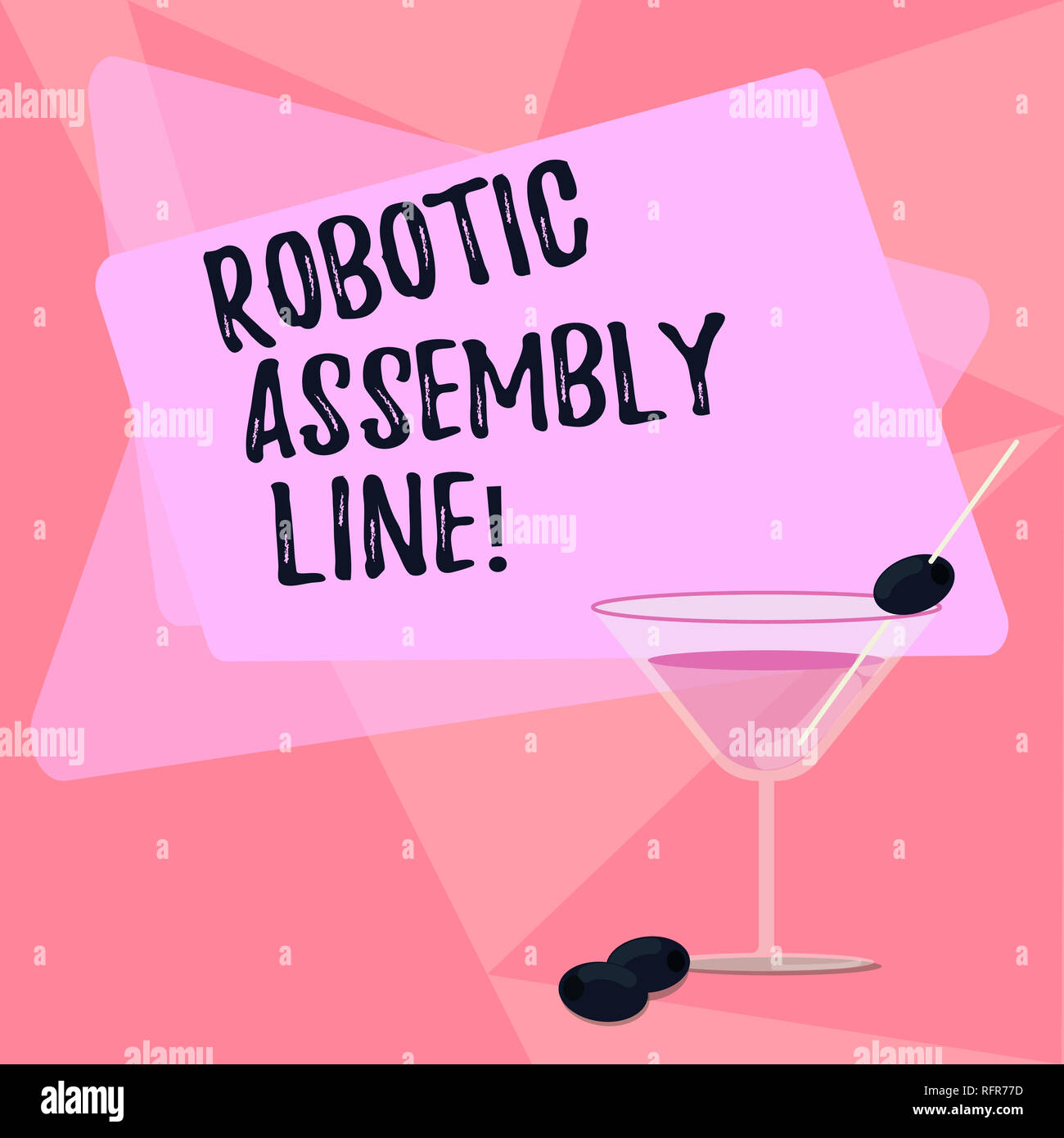 Handwriting text writing Robotic Assembly Line. Concept meaning use to increase production speed and consistency Filled Cocktail Wine Glass with Olive - Stock Image