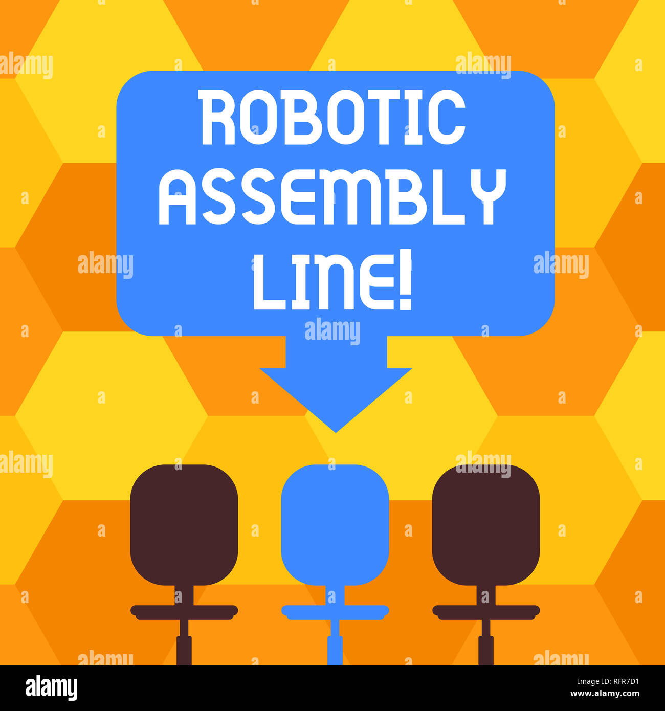 Handwriting text writing Robotic Assembly Line. Concept meaning use to increase production speed and consistency Blank Space Color Arrow Pointing to O - Stock Image