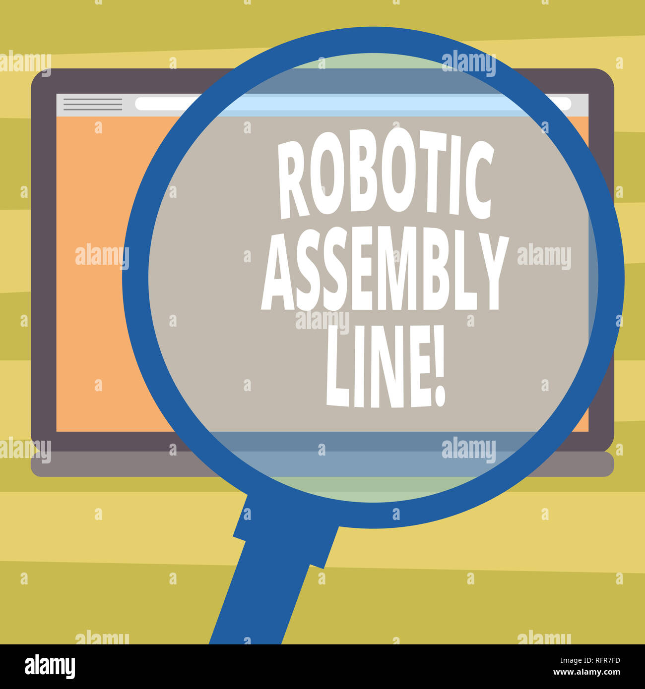 Text sign showing Robotic Assembly Line. Conceptual photo use to increase production speed and consistency Magnifying Glass Enlarging Tablet Blank Col - Stock Image