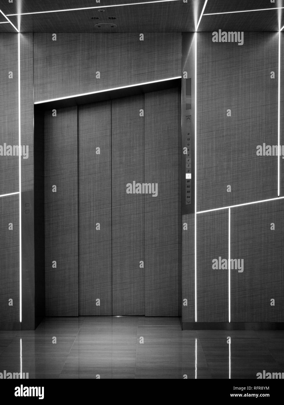 Japan, Tokyo - April 24, 2018: beautiful contemporary design of the elevator in Tokyo newest and biggest luxury shopping centre Ginza Six Stock Photo