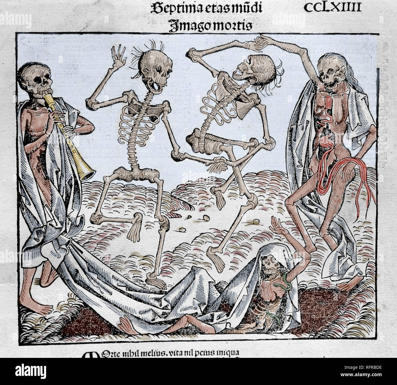 The Dance of Death (1493) by Michael Wolgemut, from the Liber chronicarum by Hartmann Schedel. Coloured engraving. - Stock Image